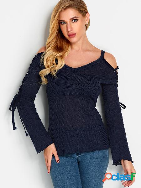 Azul marino con cuello en v con cordones diseño manga de campana suéteres finos