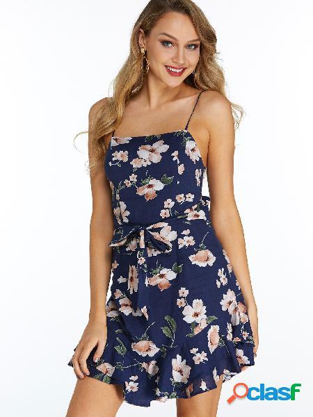 Vestidos sin mangas con cuello cuadrado estampado floral azul marino