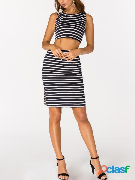 Azul marino y blanco raya crop top y skirt co-ord