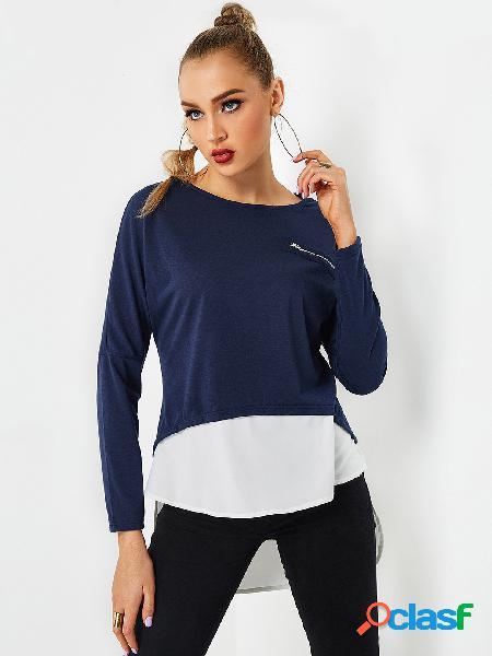 Cuello redondo azul marino mangas largas dobladillo irregular top 2 en 1