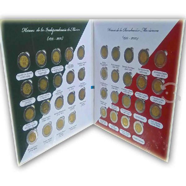 Album completo monedas 5 pesos conmemorativas 2010