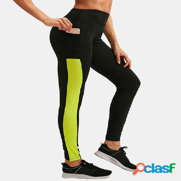 Mujer patchwork transpirable secado rápido skinny high elastic sports yoga pantalones con bolsillo lateral