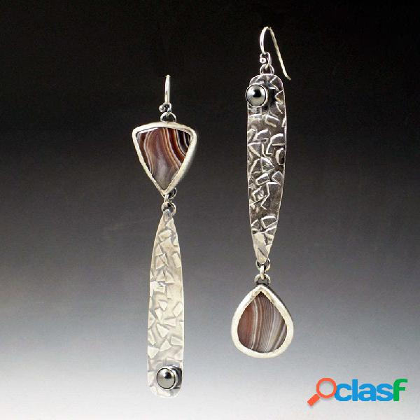 Vendimia ágata de botswana pendientes perla plateada asimétrica colgante pendientes