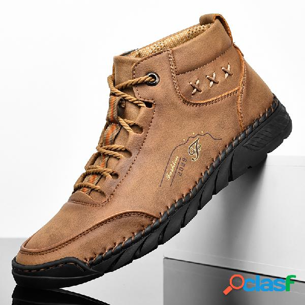 Hombre piel de microfibra soft tobillo cosido a mano botas