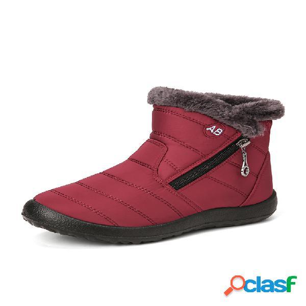 Mujer color sólido acolchado cremallera forro cálido informal impermeable algodón corto de nieve botas