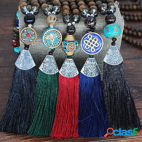 Vendimia collar largo de cuentas de madera de buda borla geométrica étnica colgante cadena de suéter