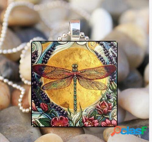 Vendimia blue dragonfly insect glass colgante collar metal geométrico cuadrado cristal búho impreso collar