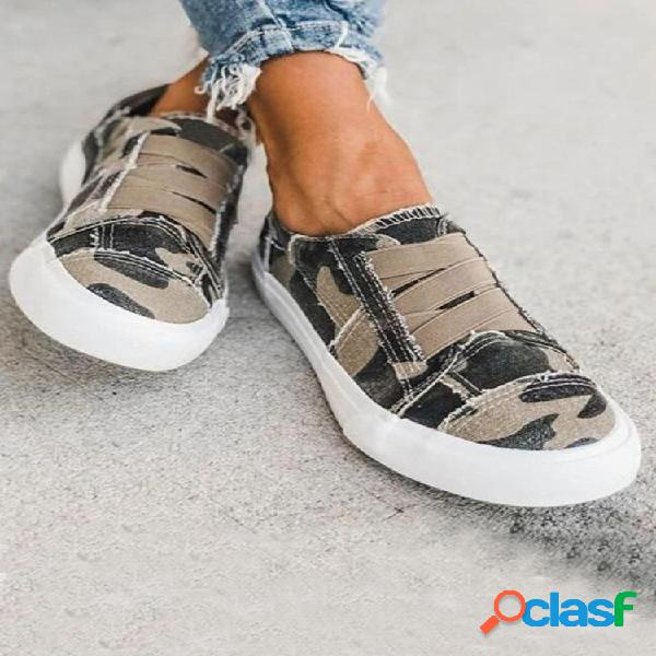 Woemn leopard printing elastic banda zapatos planos de lona casuales