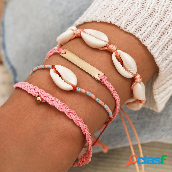 Bohemian natural shell rice beads pulsera tejida a mano rectángulo geométrico colgante pulsera de múltiples capas