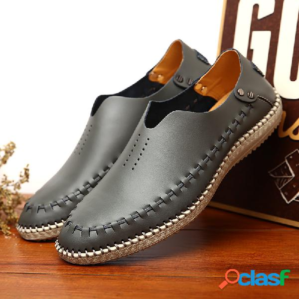 Hombres costura a mano soft slip on leather driving shoes