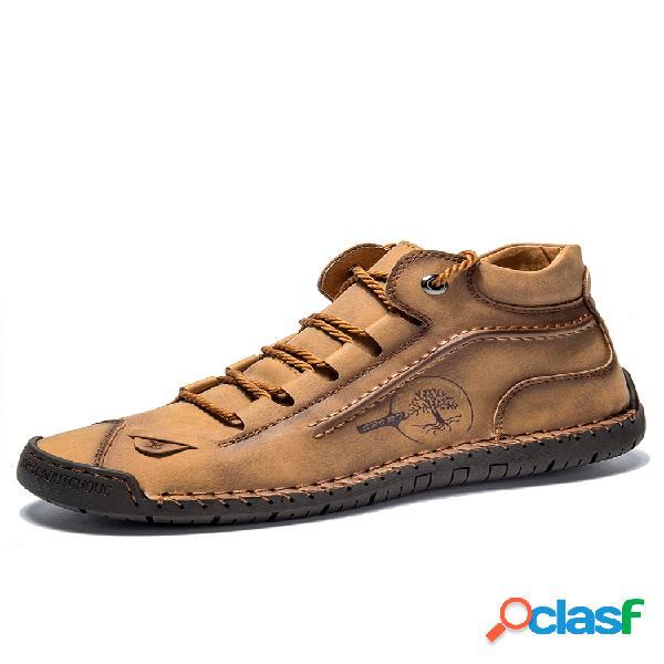 Menico hombre tobillo cómodo antideslizante de cuero cosido a mano botas