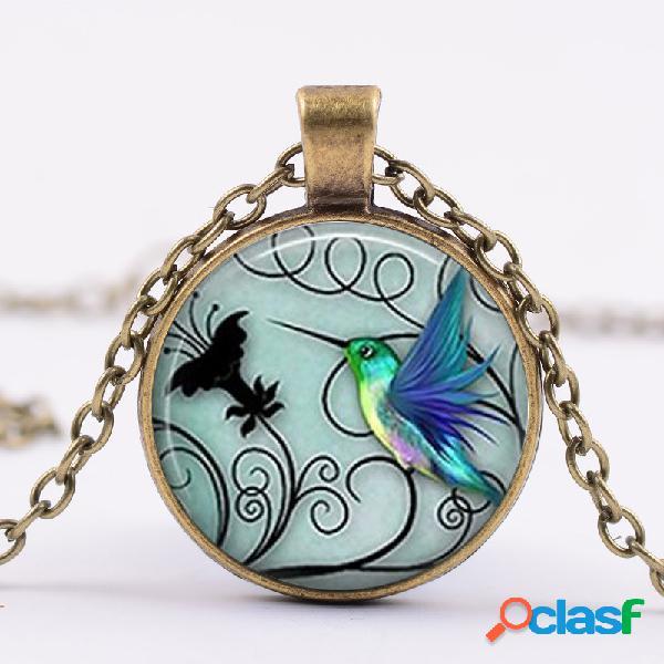 Colibrí azul creativo de moda colgante collar de cristal redondo mujer collar joyería regalos