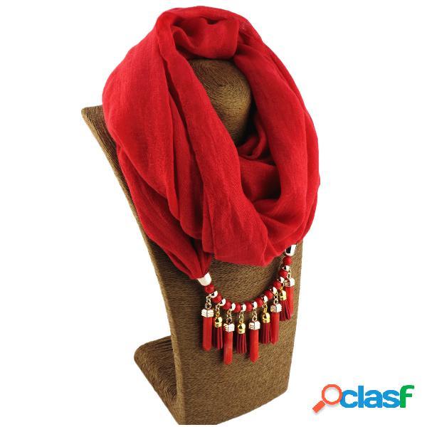 Collar de múltiples capas de lino de algodón estampado bohemio borla de cuentas de color sólido colgante collar de bufanda