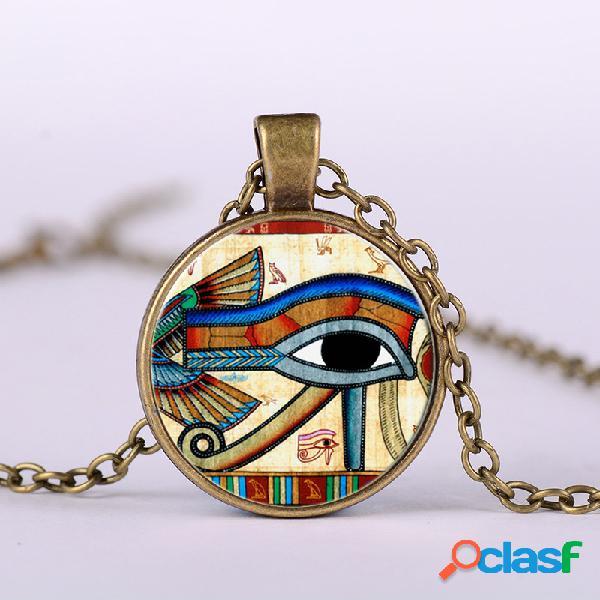Eye of horus gem colgante collar cadena de metal ajustable vidrio redondo mujer collar joyería regalos