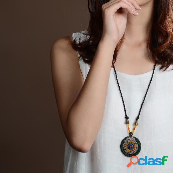 Cadena hecha a mano étnica perlas collar tejido hueco geométrico colgante collar largo suéter cadena