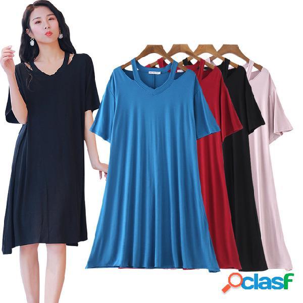 Season New Modal V-cuello de manga corta vestido de gran tamaño de las mujeres era delgada una palabra falda larga