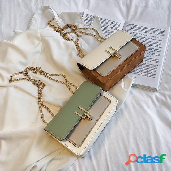 Season small bag fashion ins nuevo bolso de mujer unilateral contraste color cadena diagonal pequeño bolso cuadrado