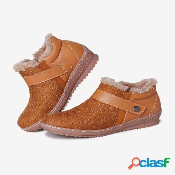 Lostisy suede elastic banda cómodo tobillo de invierno con forro cálido botas