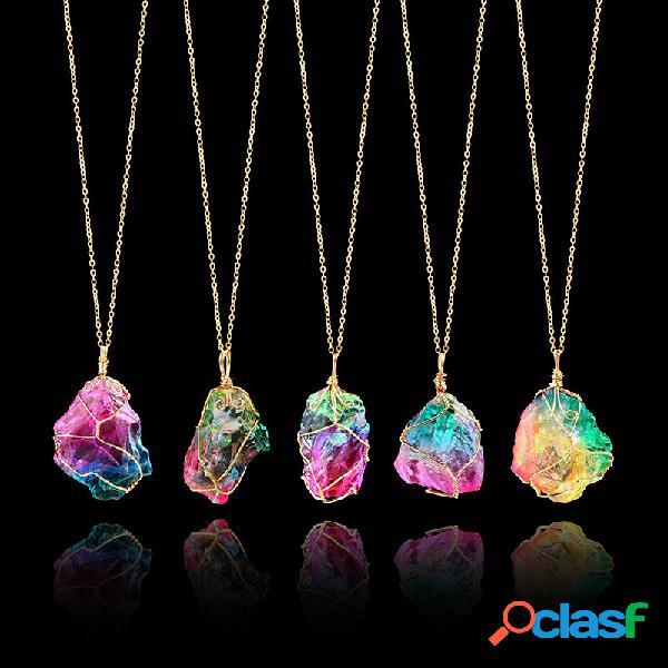 Vendimia winding crystal colgante collar transparente collar de cadena de piedra natural joyería elegante