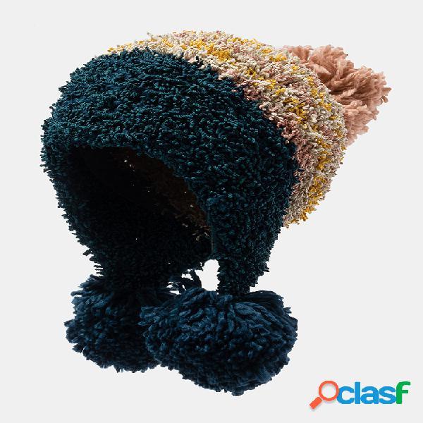 Gorro para mujer de punto cálido y elegante sombrero pompones accesorios sombrero