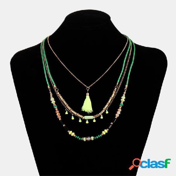 Borla bohemia irregular de color con cuentas a mano colgante collar de múltiples capas joyas étnicas