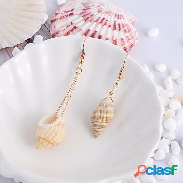 Bohemian conch colgante pendiente asimetría shell metal ear drop joyas de la personalidad para mujer