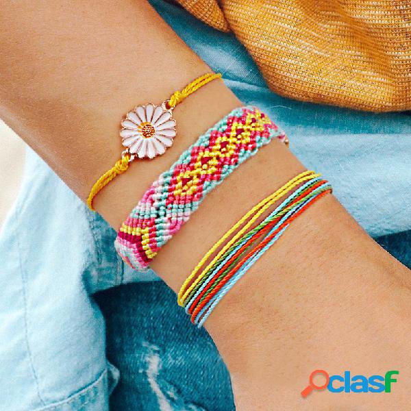 Bohemian daisy colgante pulsera multicapa flor geométrica cera hecha a mano alambre pulsera trenzada