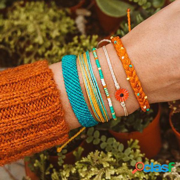 Bohemian daisy hand-woven wax line pulsera multicapa geométrica girasol colgante pulsera
