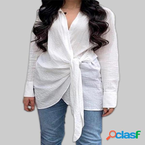 Nudo cruzado frente color sólido algodón plus tamaño blusa informal
