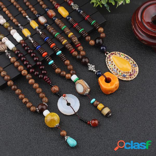 Étnico geométrico colgante collar largo jade ágata hecho a mano cuentas de hilo collar largo