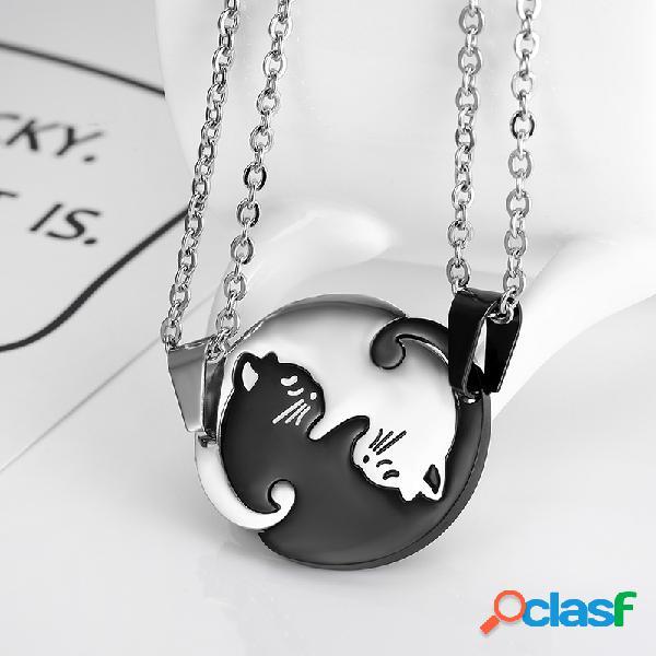 Collar de acero inoxidable animal geométrico de moda lindo dulce gato colgante collar de pareja de rompecabezas