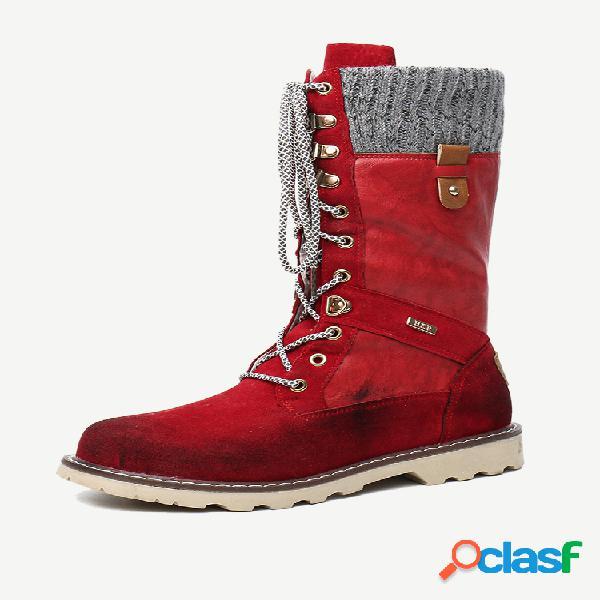 Mujer invierno casual empalme cordones plano media pantorrilla nieve botas
