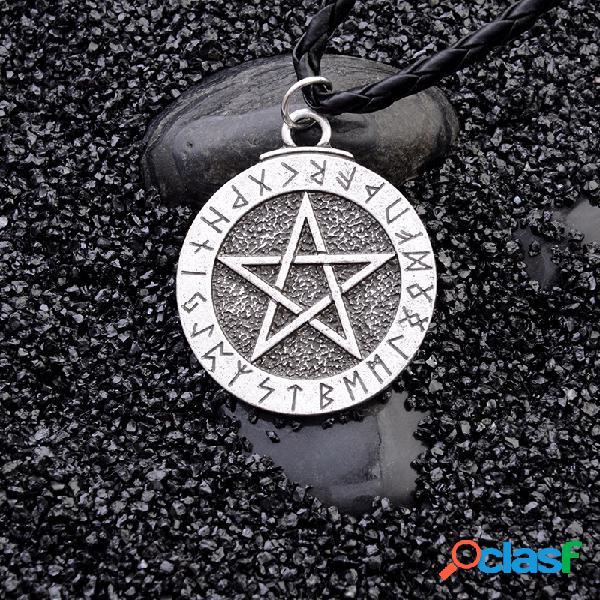 Vendimia pentagram colgante collar disco de metal geométrico colgante collar largo para hombre joyas punk