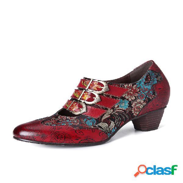 Socofy retro stitching flor delicada en relieve piel genuina zapatos sin cordones