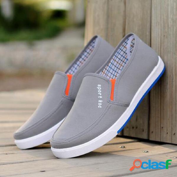 Hombres de lona transpirable comfort soft slip on casual shoes