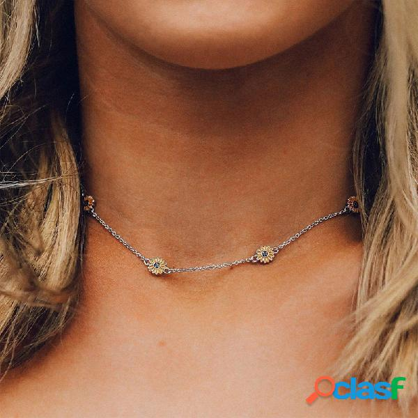 Bohemian daisy tassel colgante collar collar de cadena de girasol geométrico