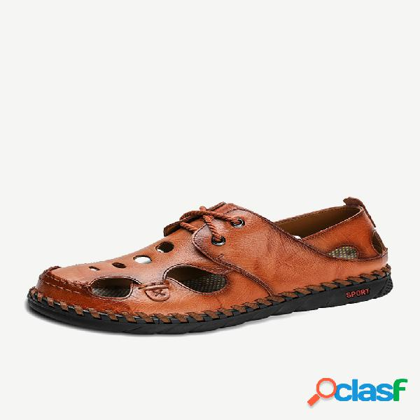 Hombre piel cosida a mano antideslizante al aire libre soft suela casual sandalias