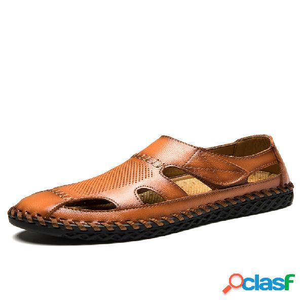 Hombre piel genuina costura a mano antideslizante soft suela casual sandalias