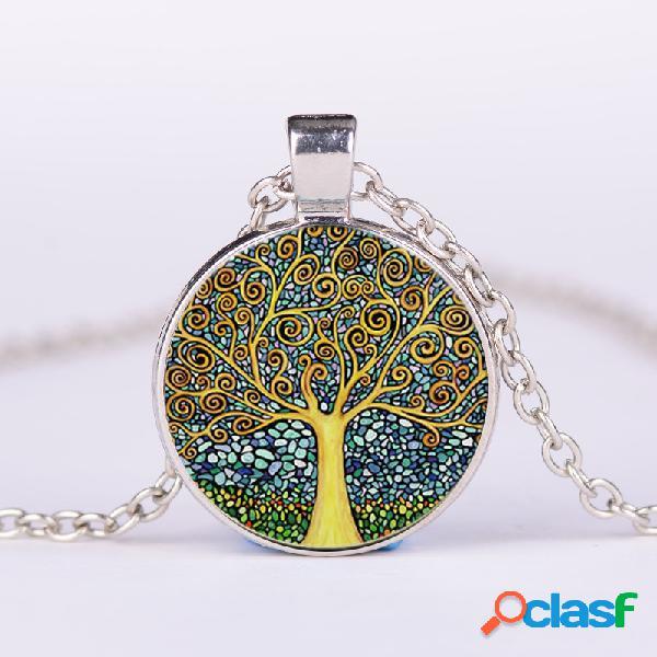 Vendimia geométrico redondo árbol de la vida gemstone colgante collar metal colorful collar impreso en vidrio