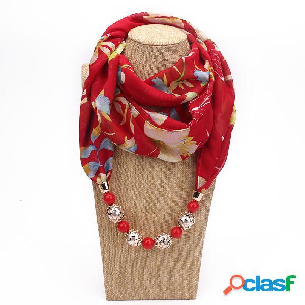 Collar de gasa estampado bohemio de múltiples capas borla hecha a mano con cuentas colgante collar de bufanda