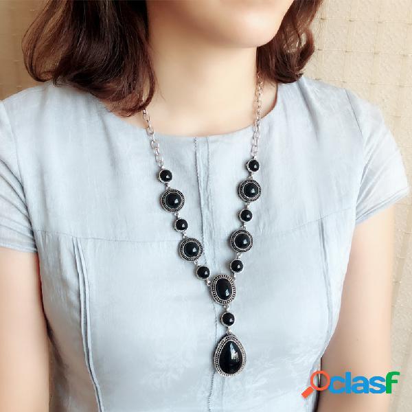 Bohemio vendimia turquesa collar en forma de gota cadena ajustable colgante collar joyería para mujer