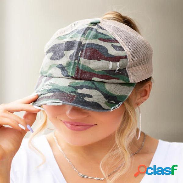 Mujer algodón color a juego malla transpirable entrecruzado hallow out baseball sombrero