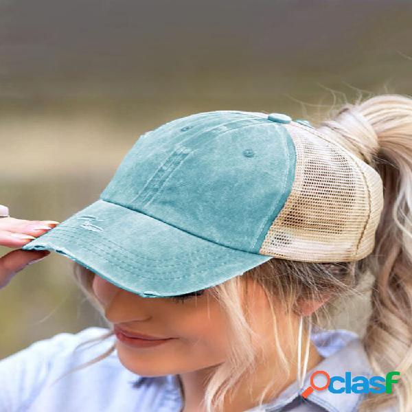 Mujer algodón malla transpirable entrecruzado hallow out baseball sombrero