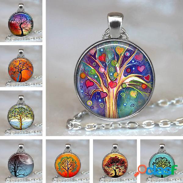 Vendimia gemstone árbol de la vida redondo geométrico colgante collar metal colorful vidrio impreso mujer joyas