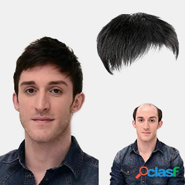 Hombres cabello bloque de repuesto calvicie mediterránea flequillo transpirable corto recto humano cabello peluca