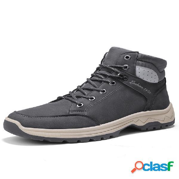 Hombre al aire libre cuero de microfibra impermeable cordones senderismo botas