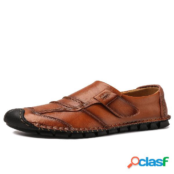Hombre costura a mano soft cuero antideslizante gancho lazo soft zapatos de conducción informales con suela
