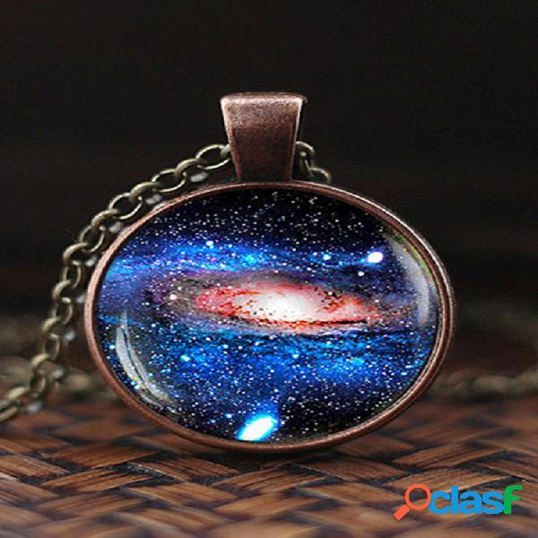 Vendimia glass gem mujer collar universe starry sky colgante collar joyas