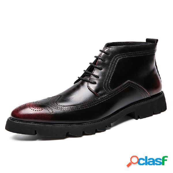 Hombre vendimia tobillo antideslizante con cordones tallados brogue botas