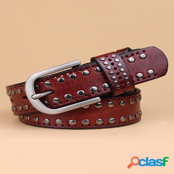 Cinturones de cuero de piel de vaca estilo punk con remaches para mujer, casual vendimia, hebilla de pasador, cintura ancha